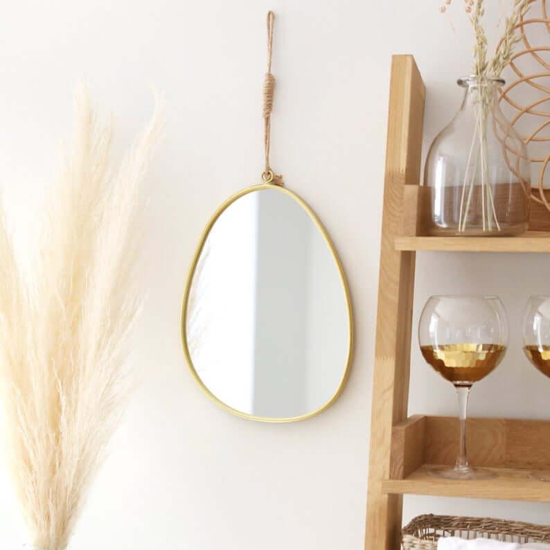 Modern Gold Metal Pebble Mirror