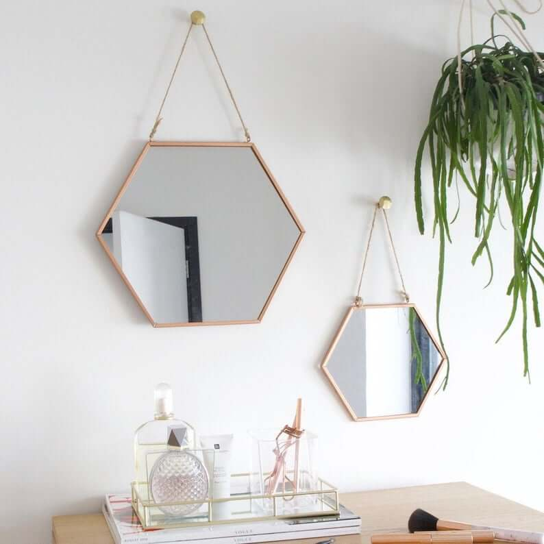 Personalized Geometric Hanging Copper Mirror
