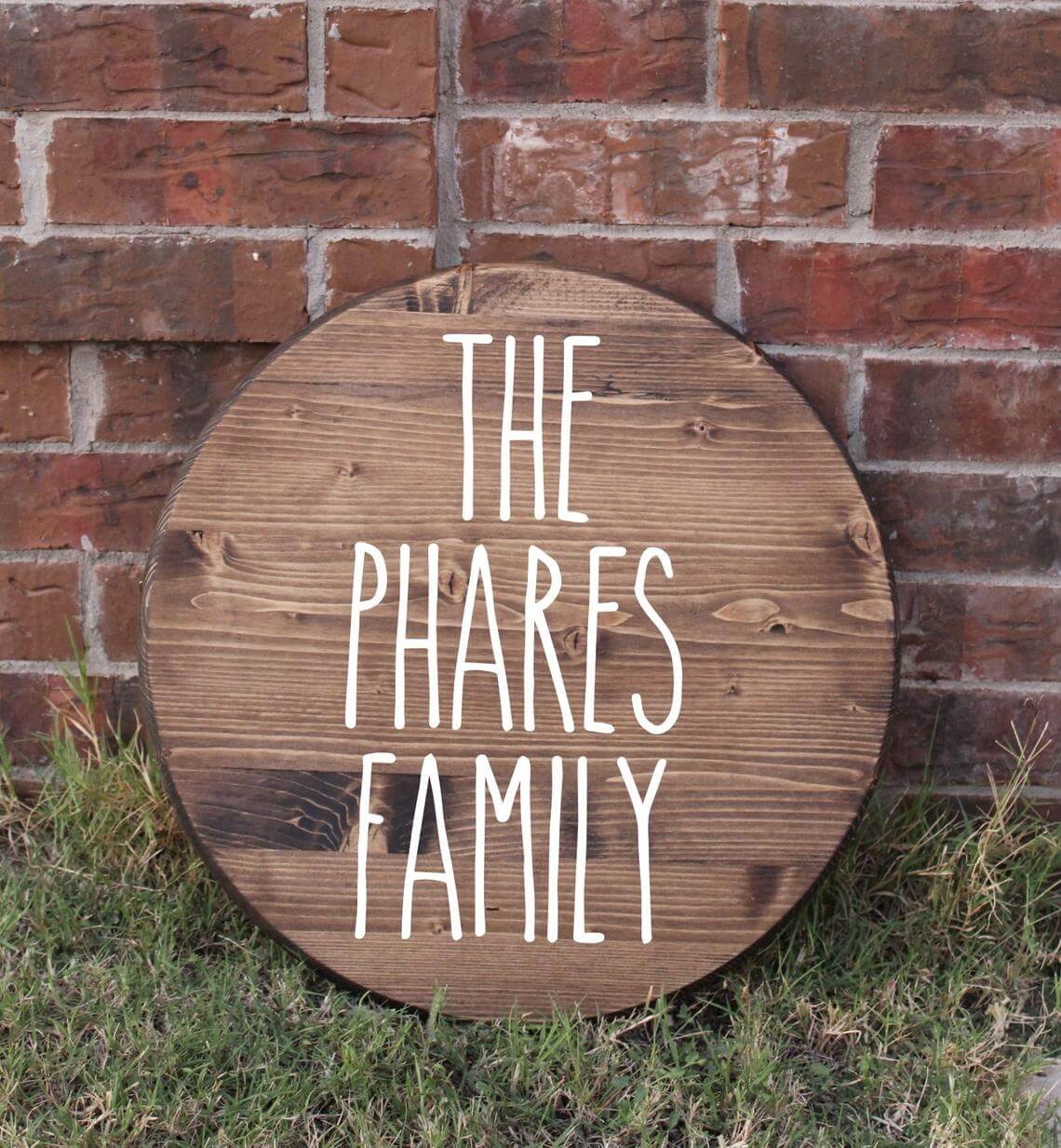 Lettered Round Wooden Name Plaque