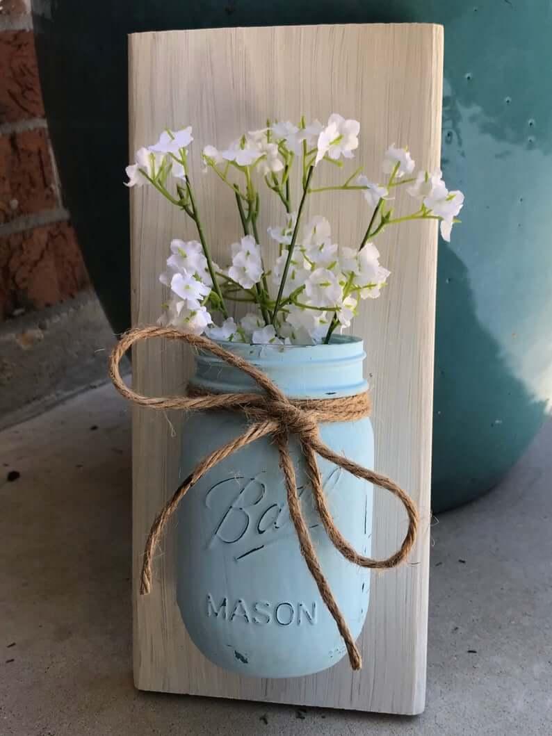 Painted Mason Jar Vase on Board