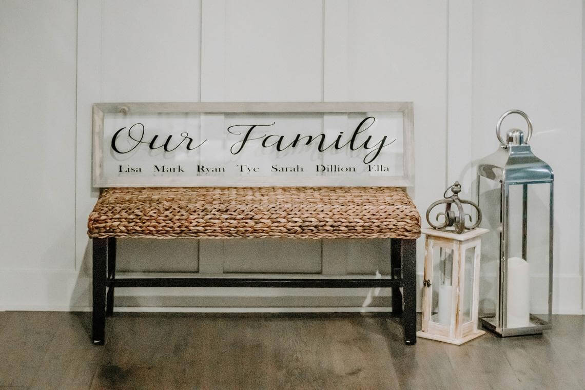 Woven Bench with Engraved Glass Back