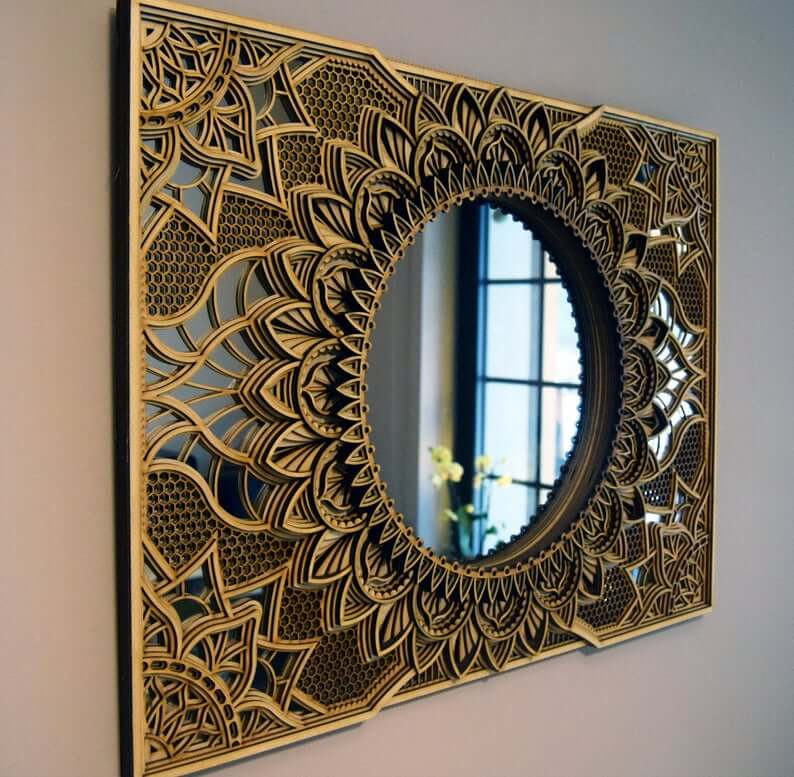 Art Deco Wood Frame Mirror