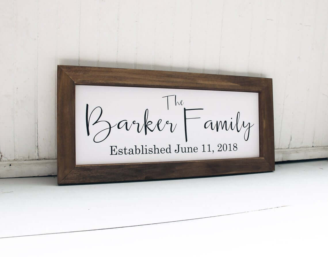 Commemorative Wedding Plaque with Wood Frame