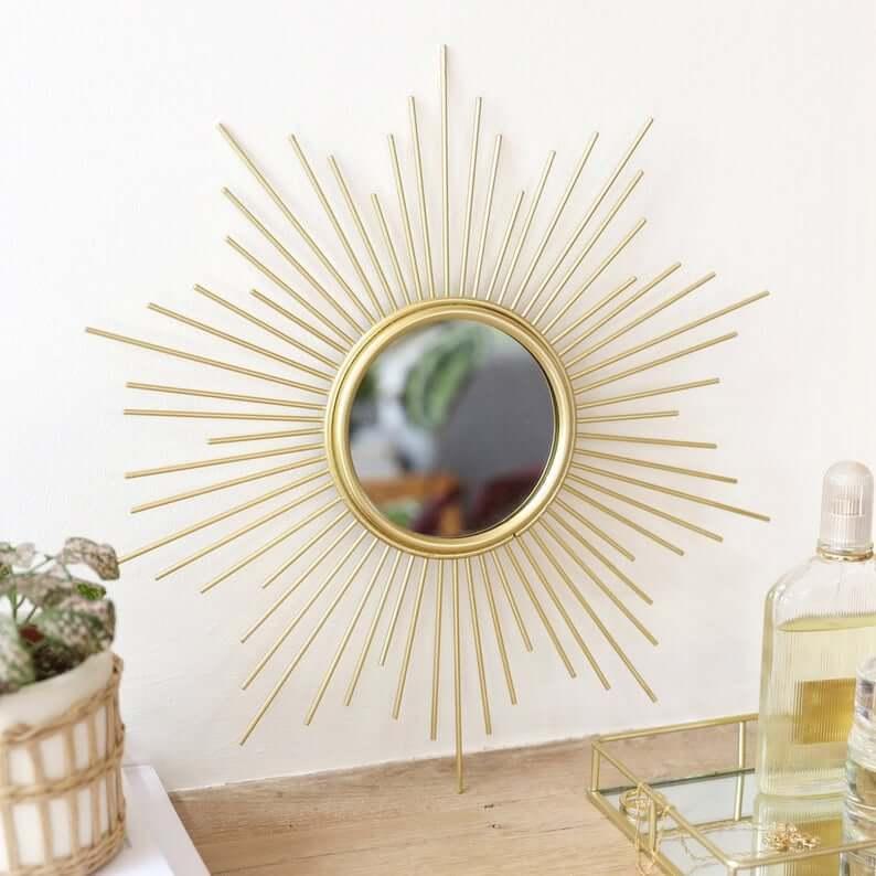 Gorgeous Gold Sunburst Wall Mirror