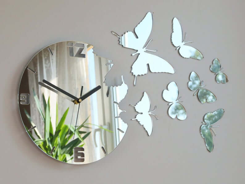 Unique Mirror Butterfly Wall Clock