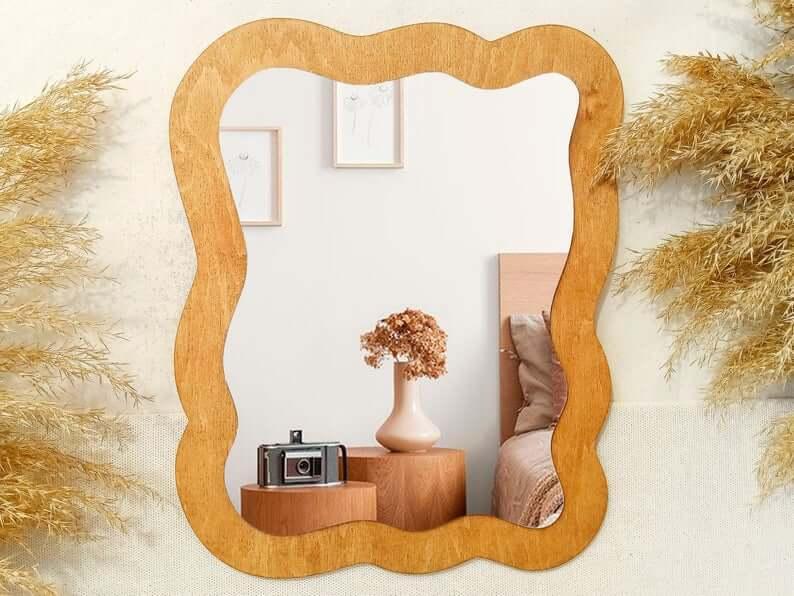 Wavy Asymmetrical Boho Wall Mirror