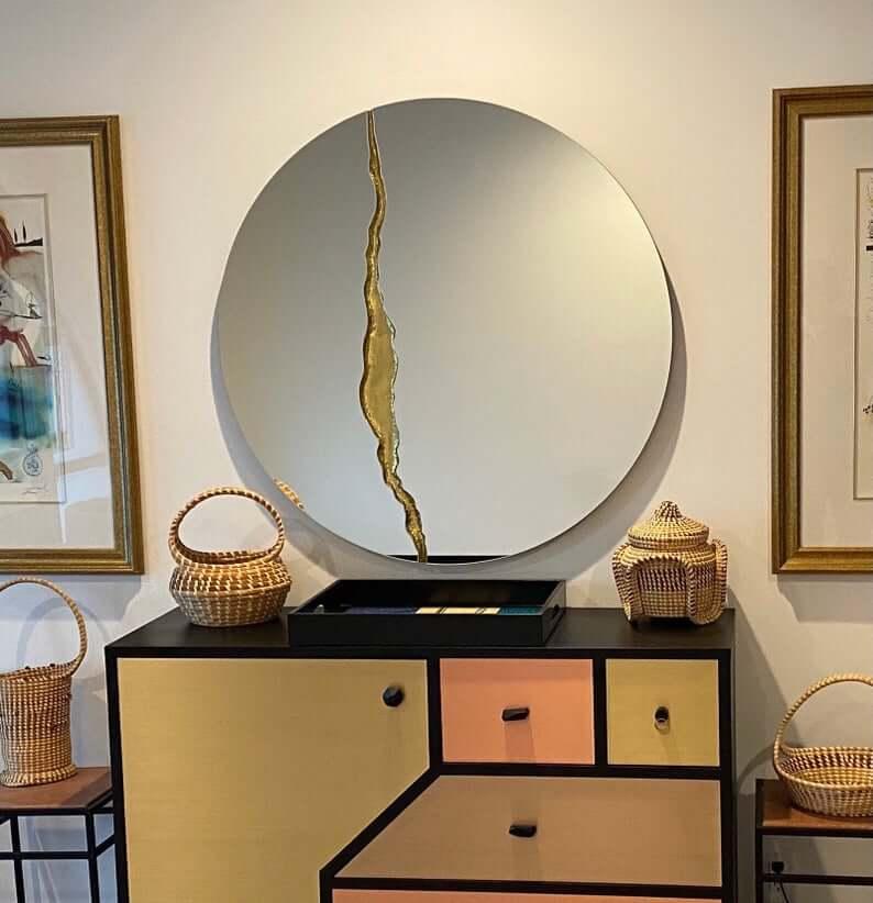 Fractured Design Round Frameless Mirror