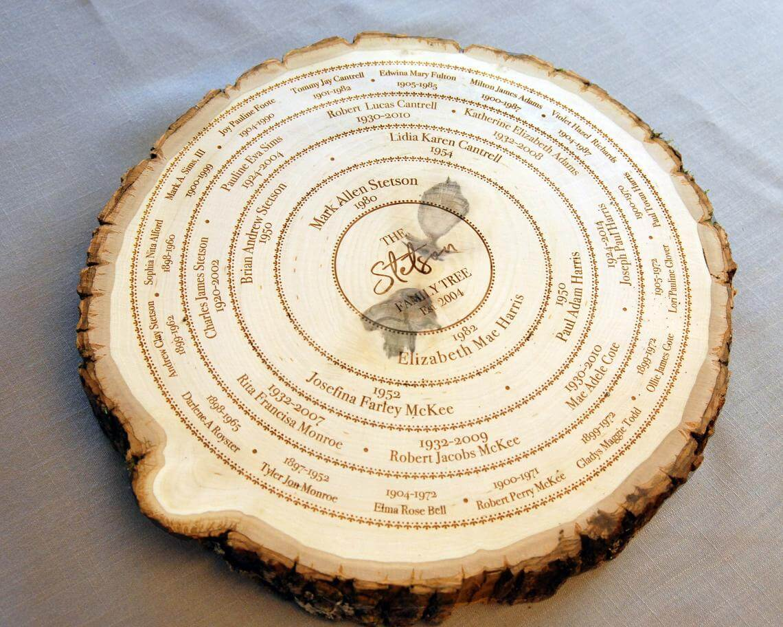 Log Slice Tree Ring Family Record