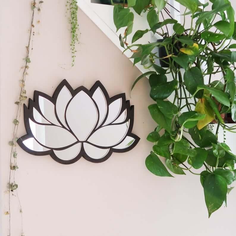 Gorgeous Wooden Lotus Wall Mirror