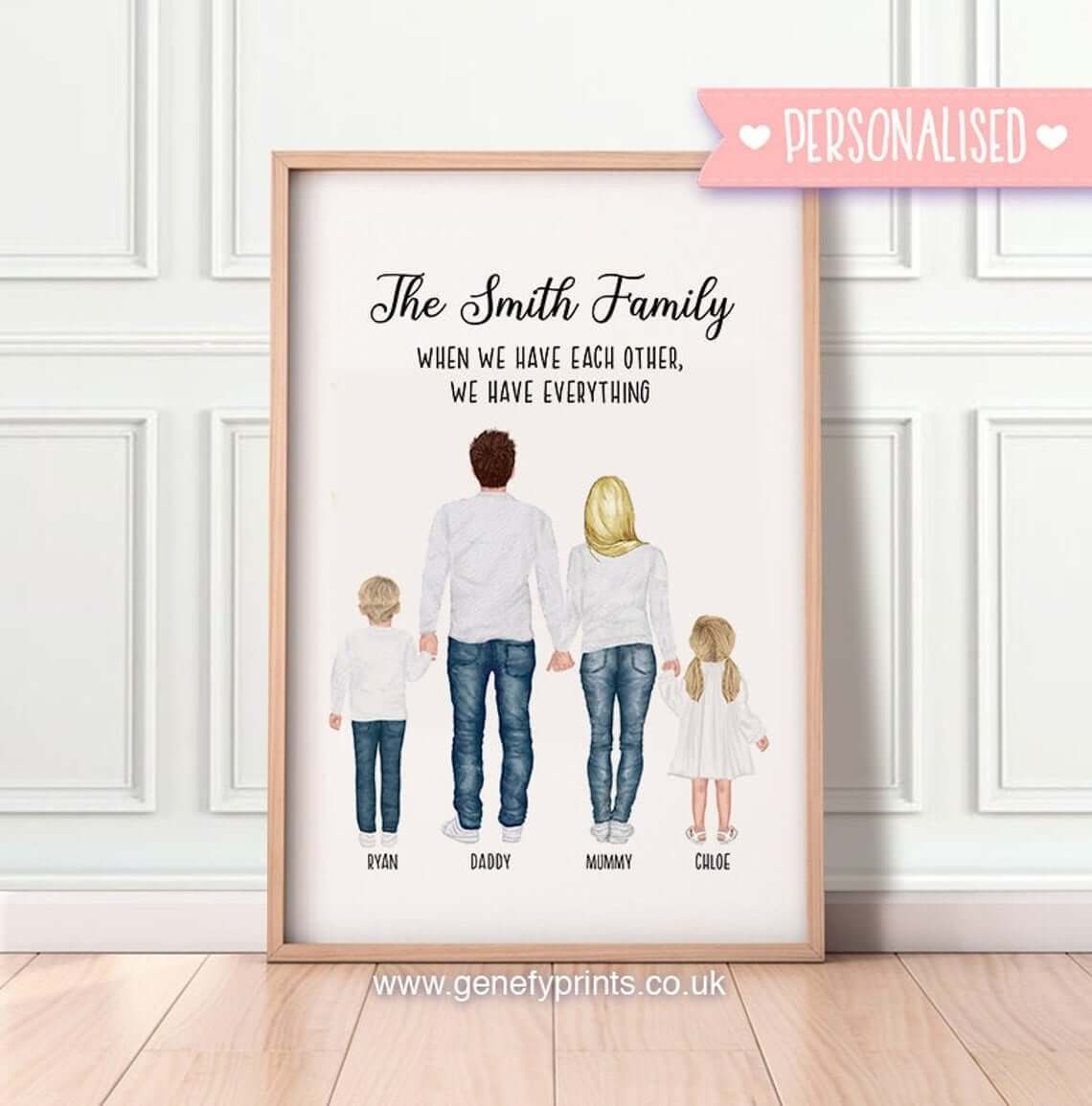 Framed Family Portrait with Positive Message