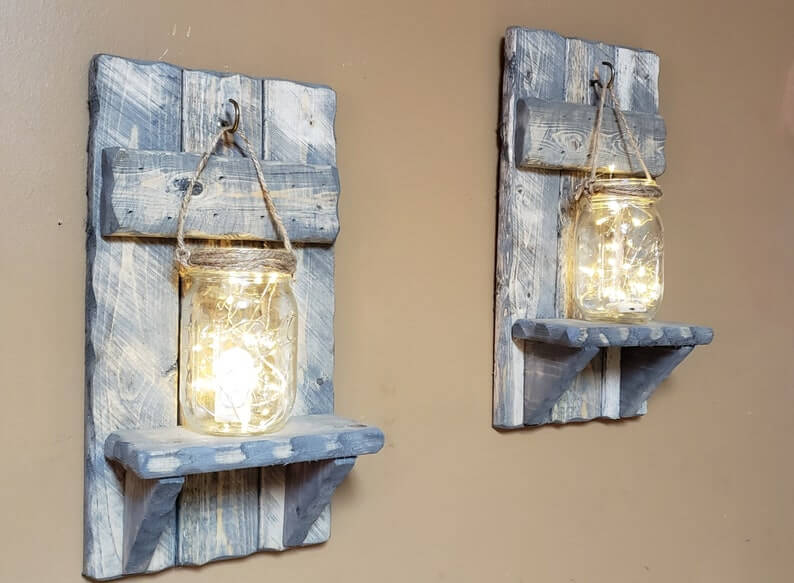 Old Fashioned Mason Jar and Wood Decor