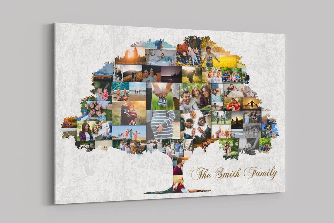 Joyful Portrait Collage Family Tree