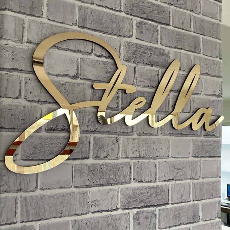 Customized Acrylic Name Sign Mirror