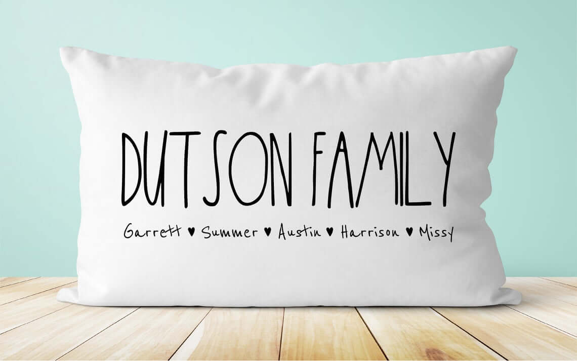 Pillow with Printed Family Roster