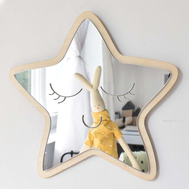 Shatterproof Wooden Star Shaped Mirror