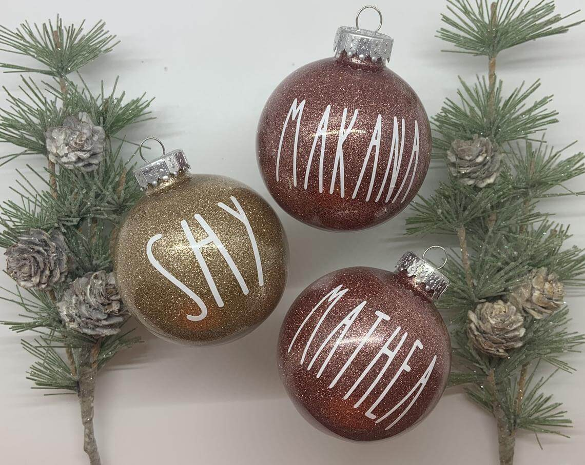 Glittering Holiday Ornaments with Painted Names