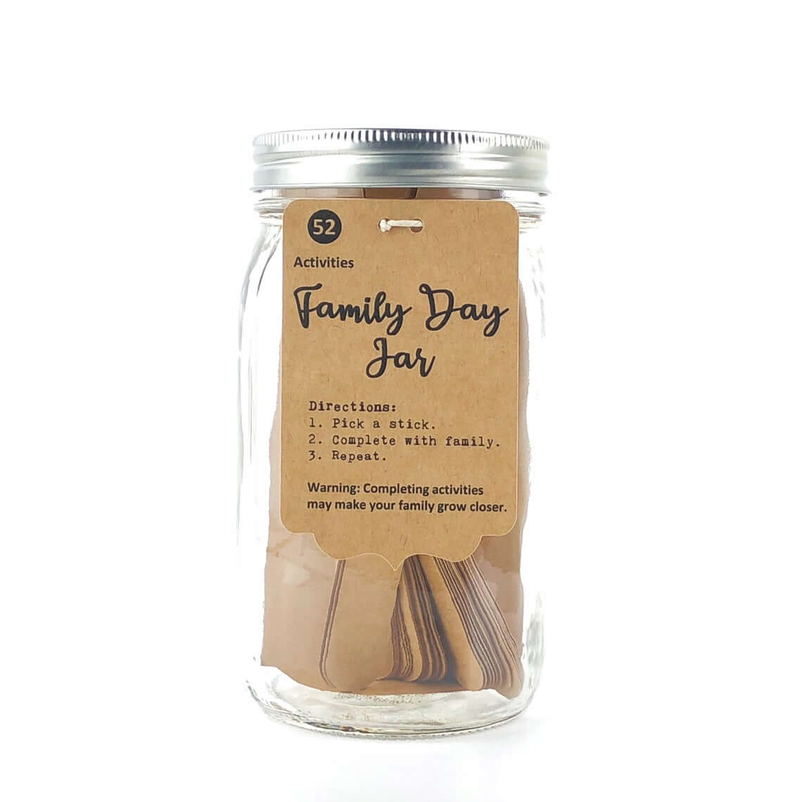 Family Activity Cards in Glass Jar