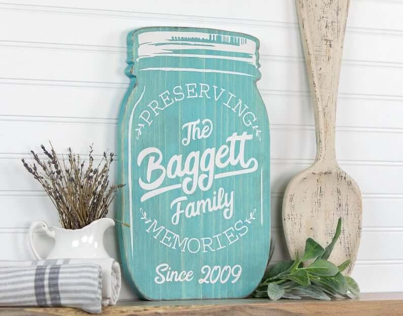 Personalized Cutout Mason Jar Sign