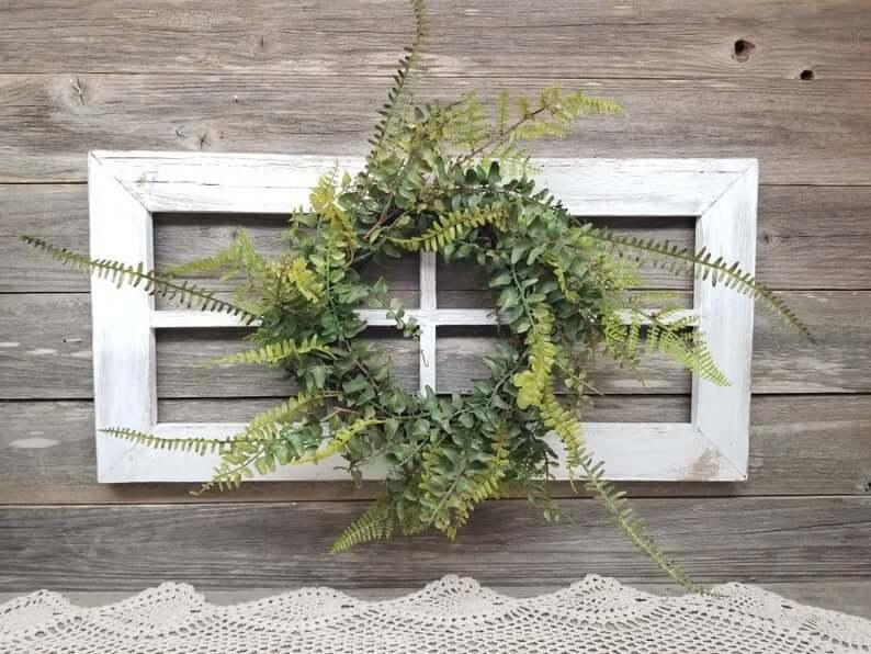 Antique Wreath Wooden Window Frame