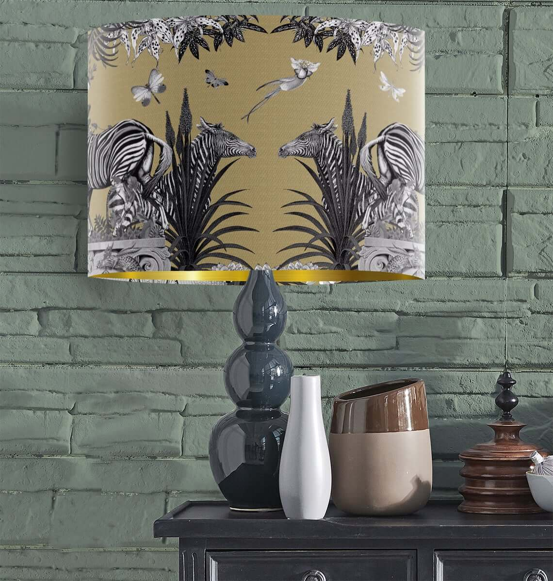 Modern Zebra Themed Gold Lamp Shade