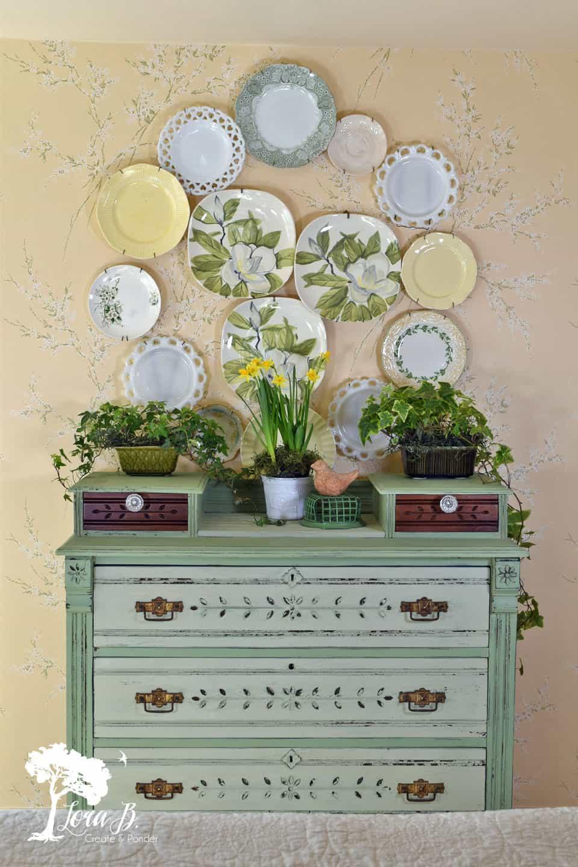 Vintage Mint Green Side Table Dresser