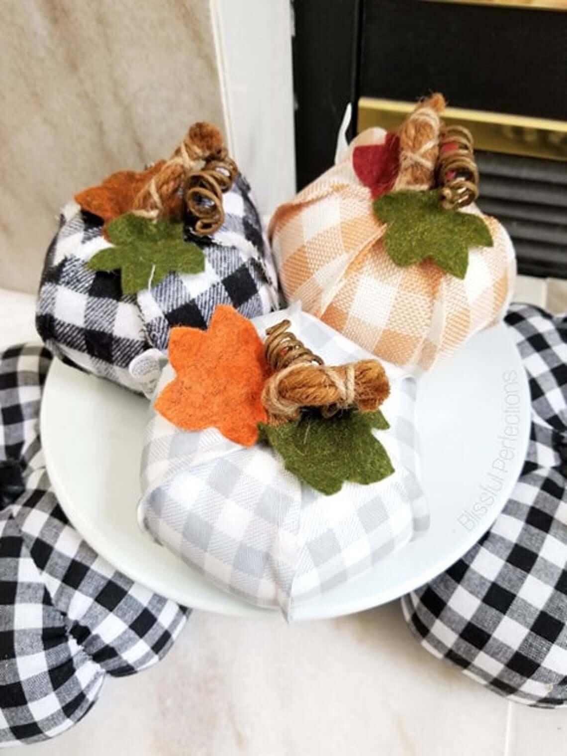 Pretty Plaid Fabric Pumpkins with Felt Leaves