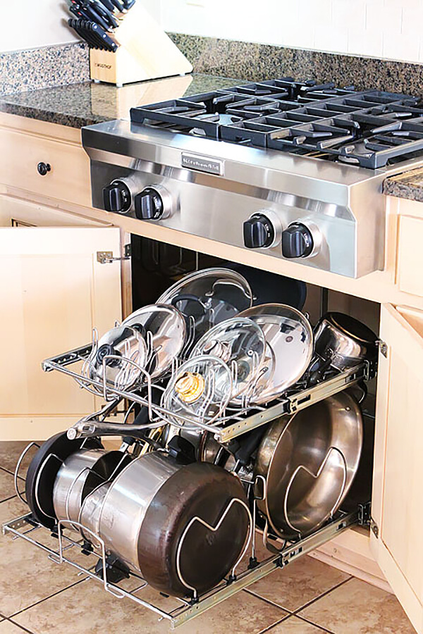 Pull-Out Pot Rack and Lid Organizer