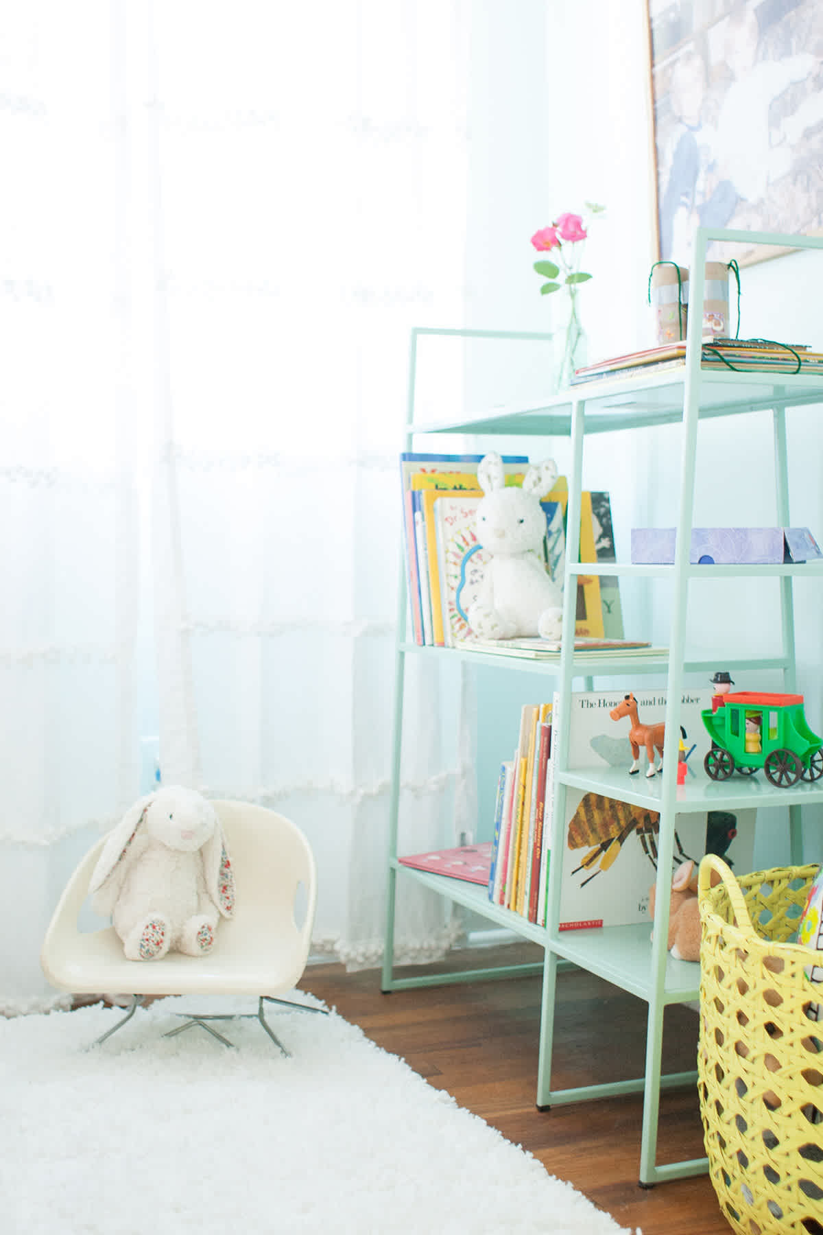 Modern Contemporary Kids Room Mint Shelving