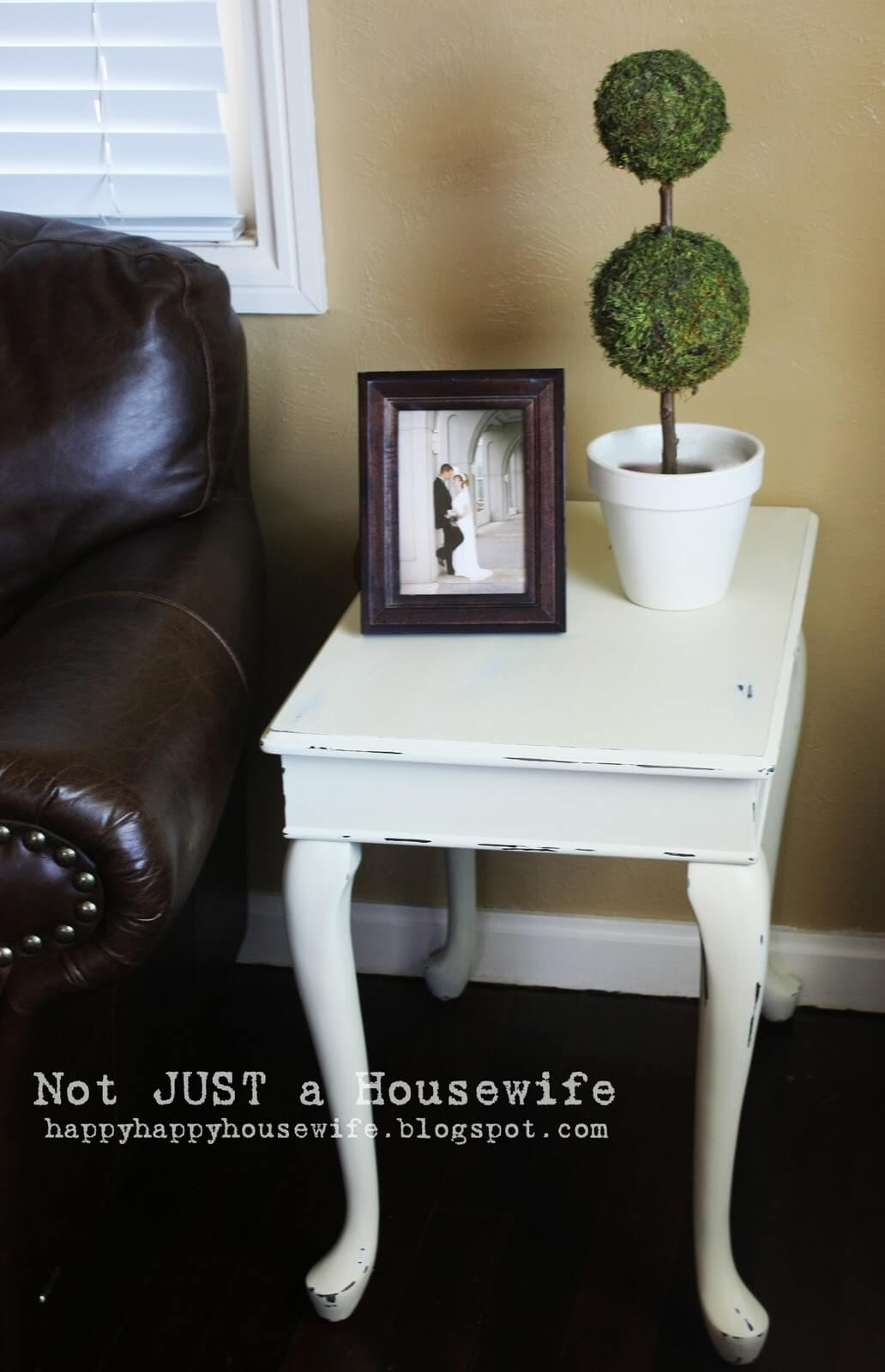 Cream Colored Weathered Side Table