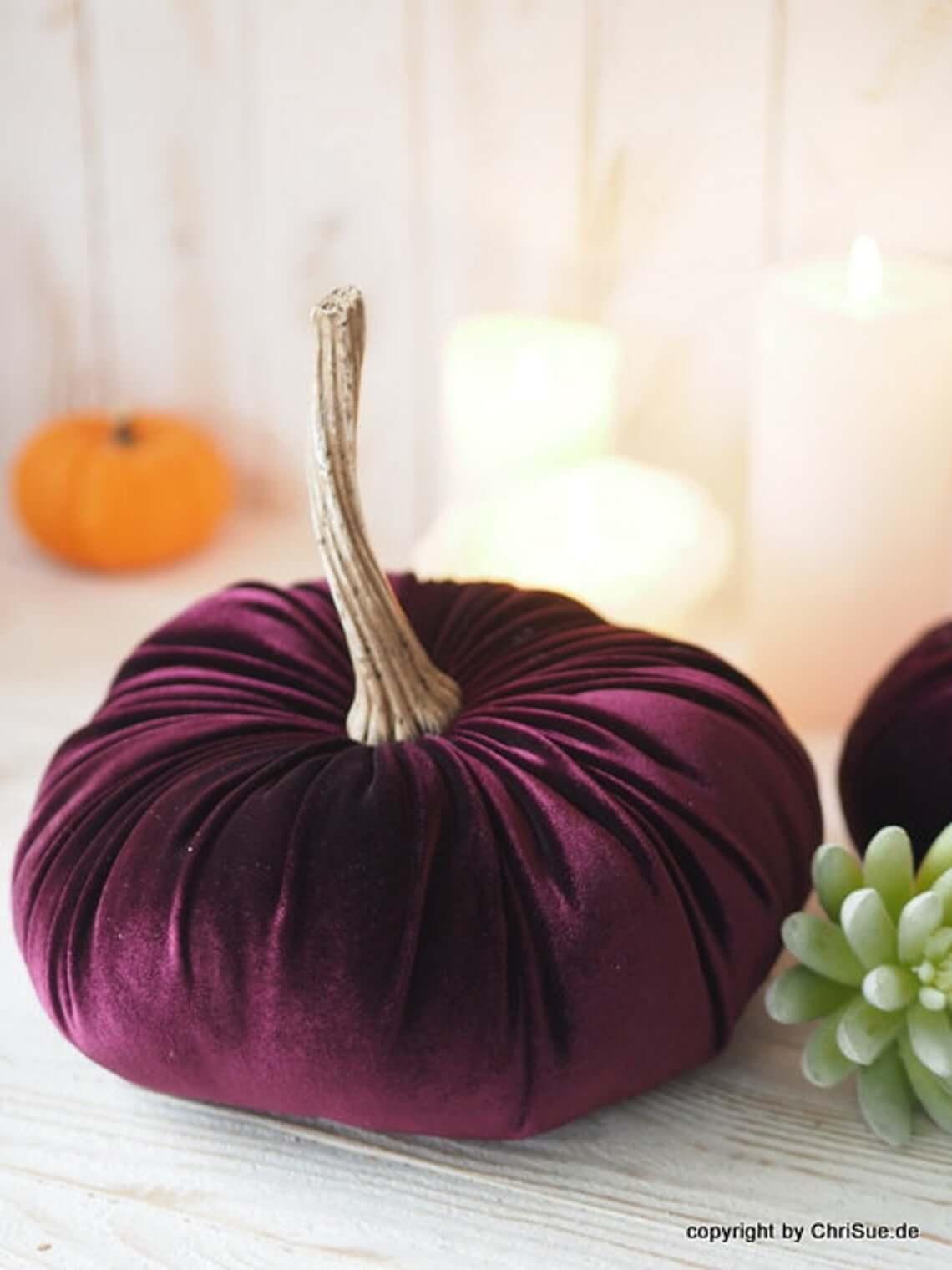 Plush Pumpkin in Rich Purple Velvet