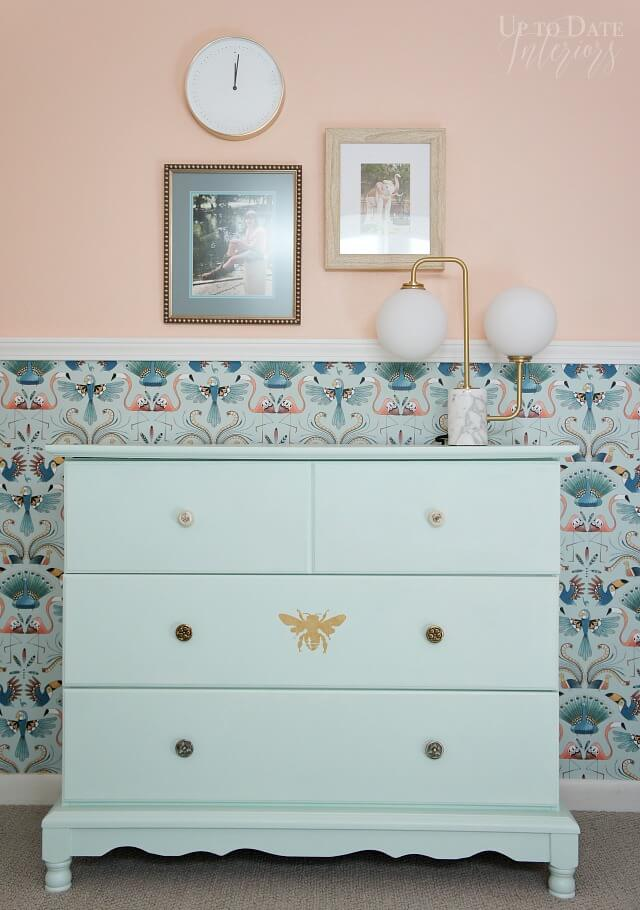 Traditional Mint Dresser with Golden Bee