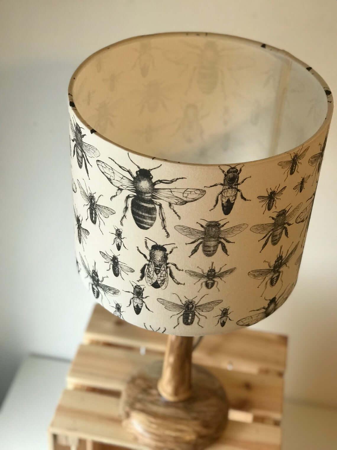 Monochrome Detailed Bee Drum Lamp Shade