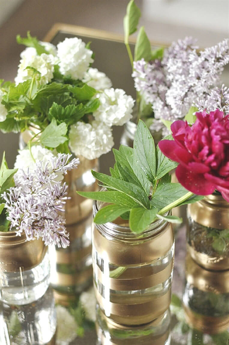 Elegant Upgrade Gold Accented Mason Jars