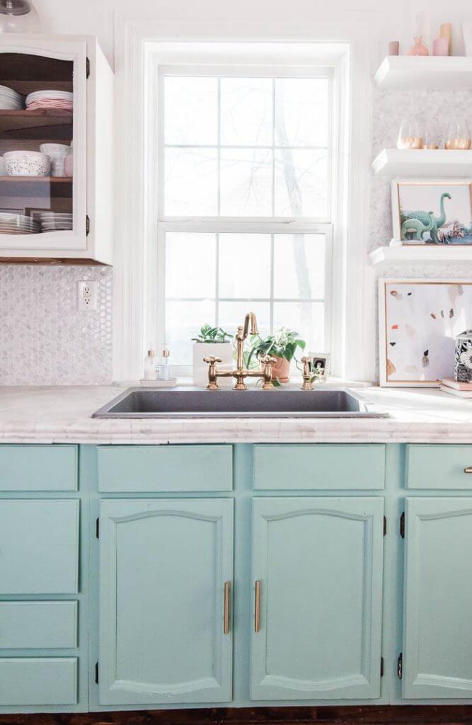 Luxurious Modern Mint Green Kitchen Cabinets