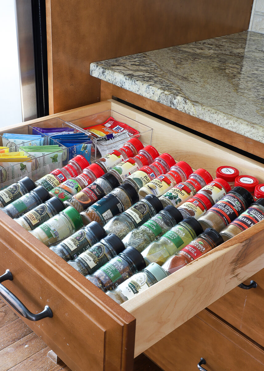 Organized Spice Jars in a Drawer