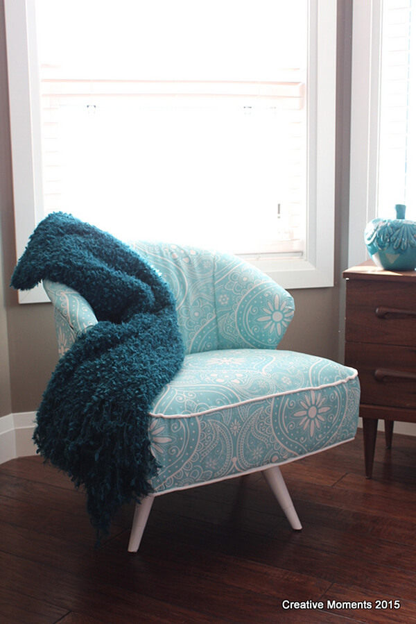 Retro and Modern Mint Green Paisley Chair