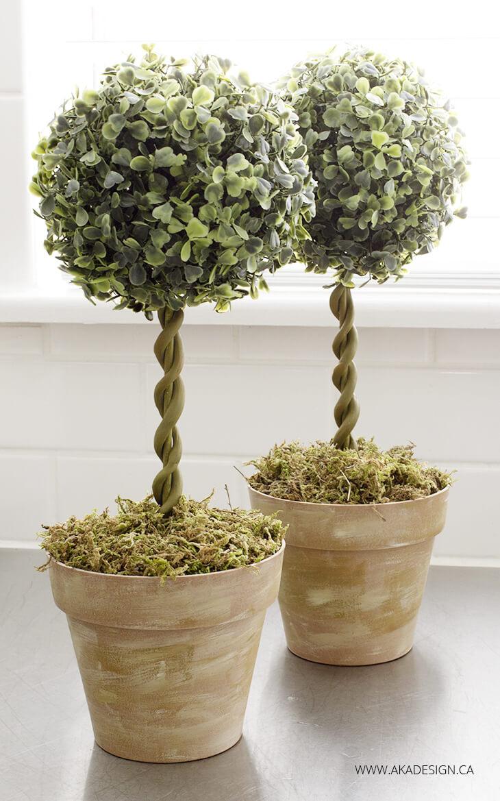 Easy DIY Farmhouse Topiary Trees