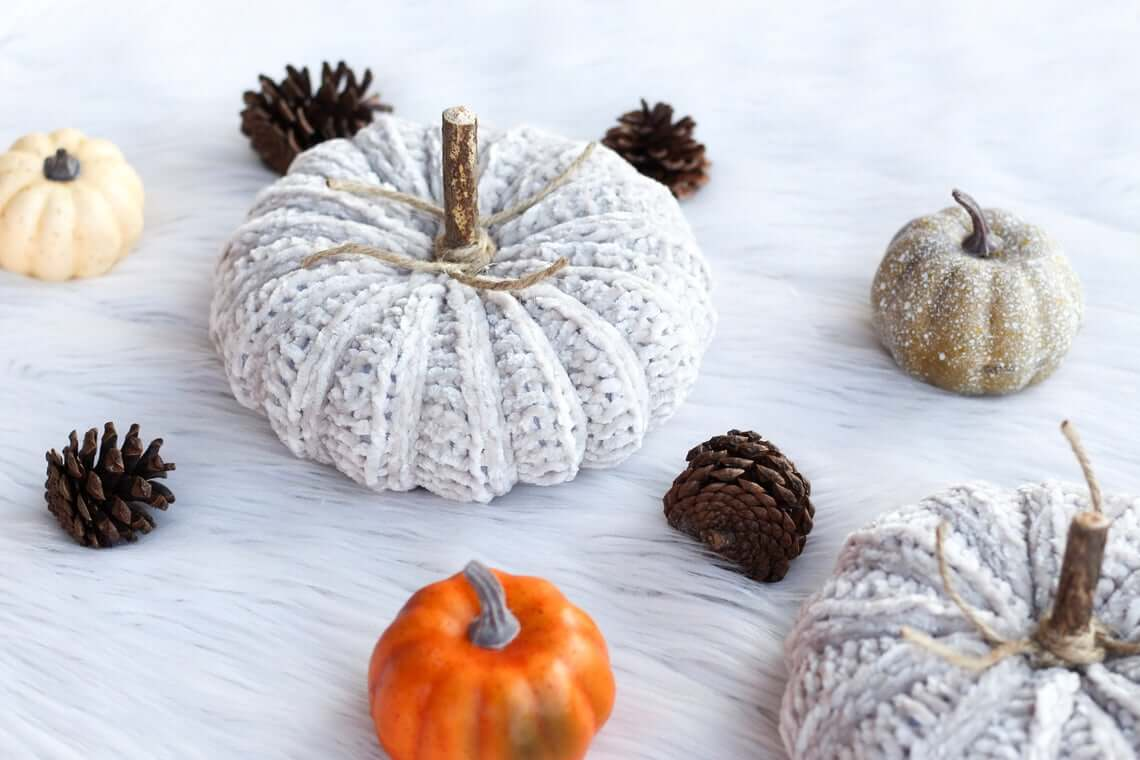 Super Luxurious Chenille Yarn Crocheted Pumpkins