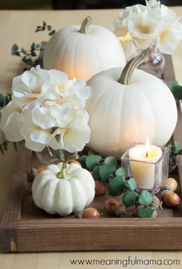 Warm and Inviting Pumpkin Filled Decorative Tray