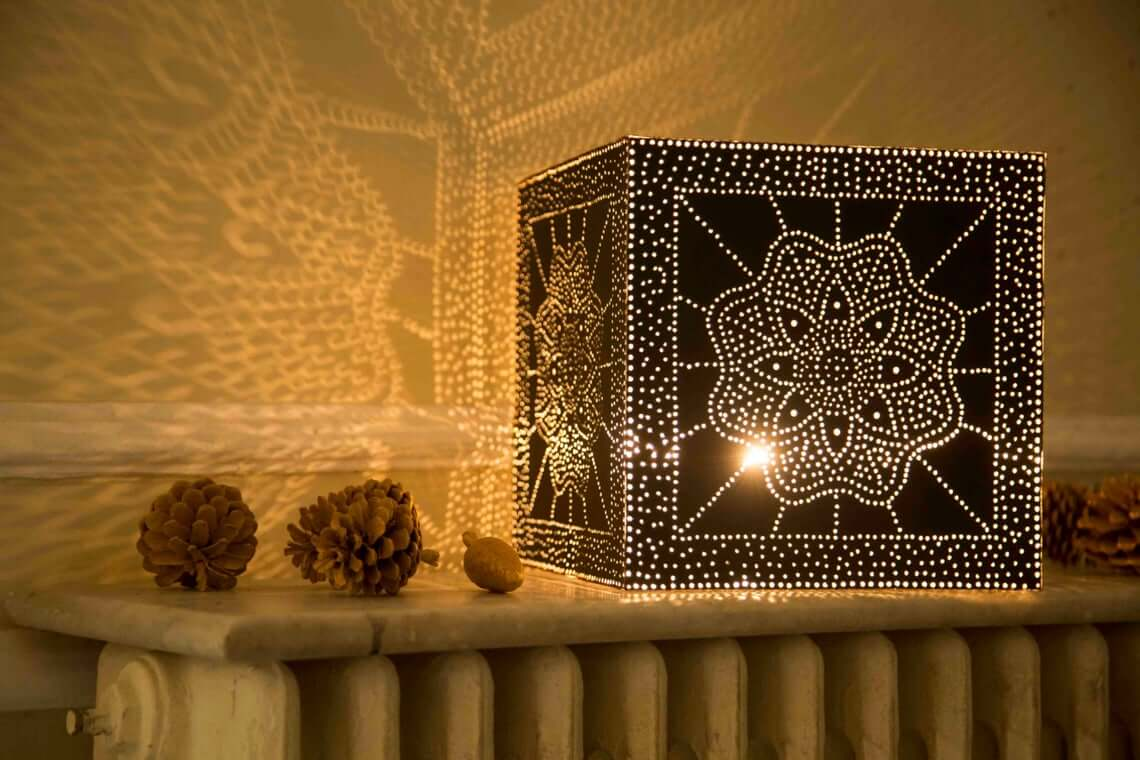 Hand-stitched Black Aluminum Table Lamp