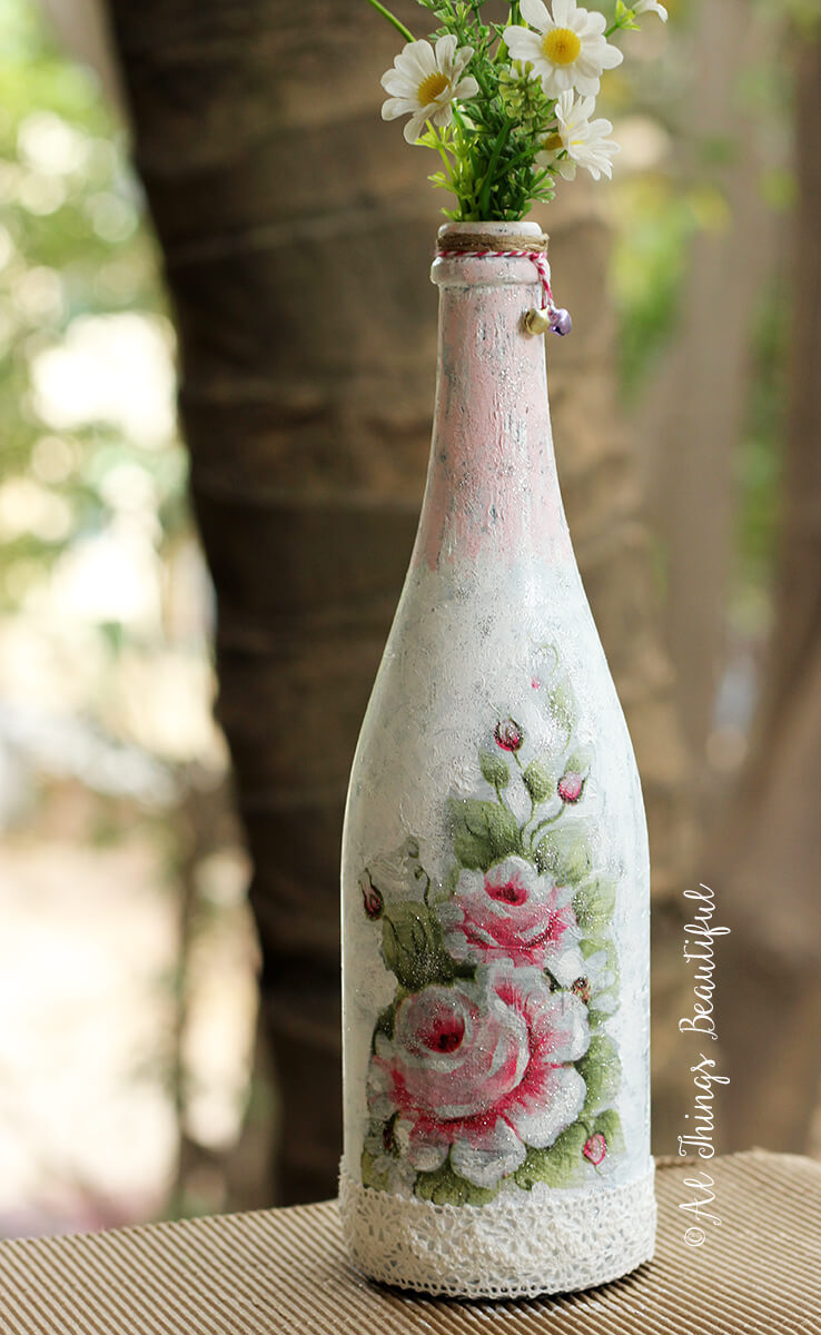 Upcycled Decoupage Bottle Flower Vase