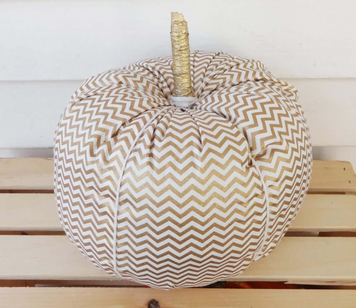 Glistening Gold and White Chevron Pumpkin
