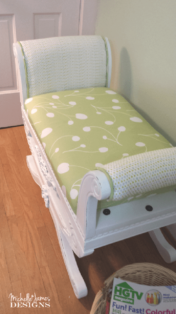 Pale Moss Green Cushioned White Settee