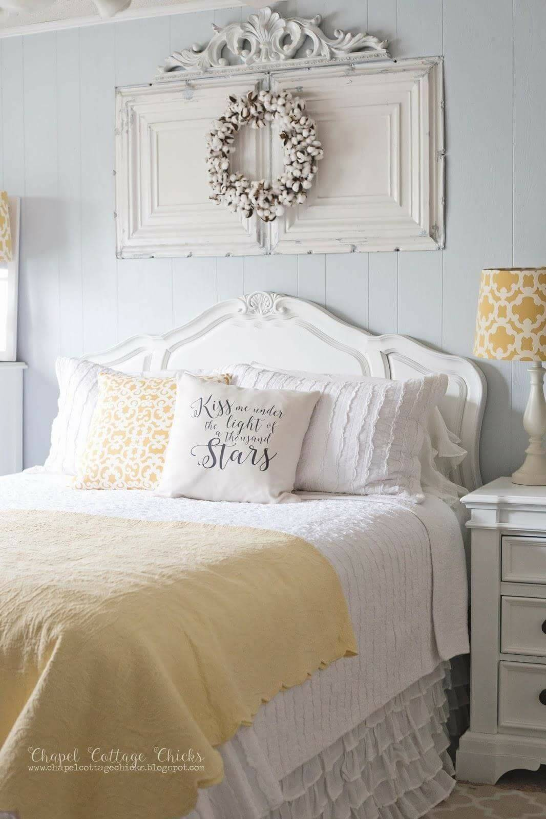 Yellow Pops in this Vintage Modern Bedroom