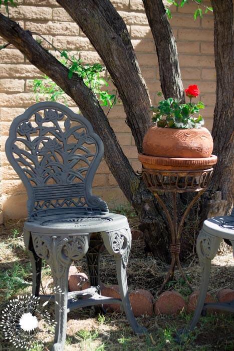 Plastic Patio Chair Faux-Iron Design