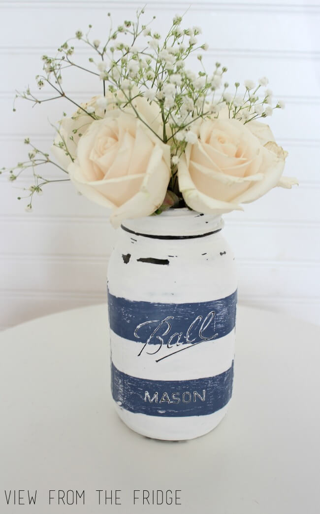 Nautical Blue and White Striped Mason Jar