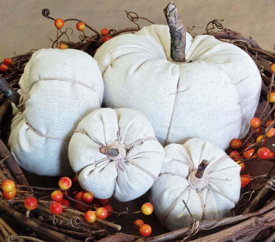 White Canvas Fabric Pumpkin Fall Decoration