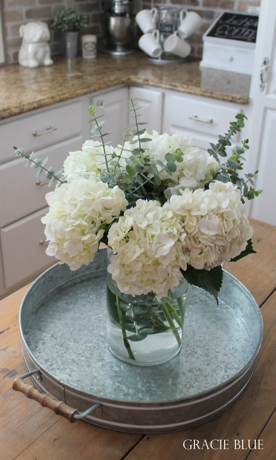 Lush Blossoms on a Galvanized Tray