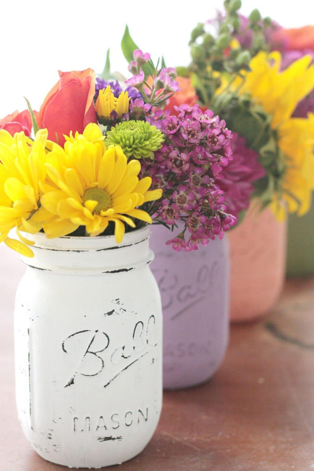Shabby Chic Distressed Painted Mason Jars