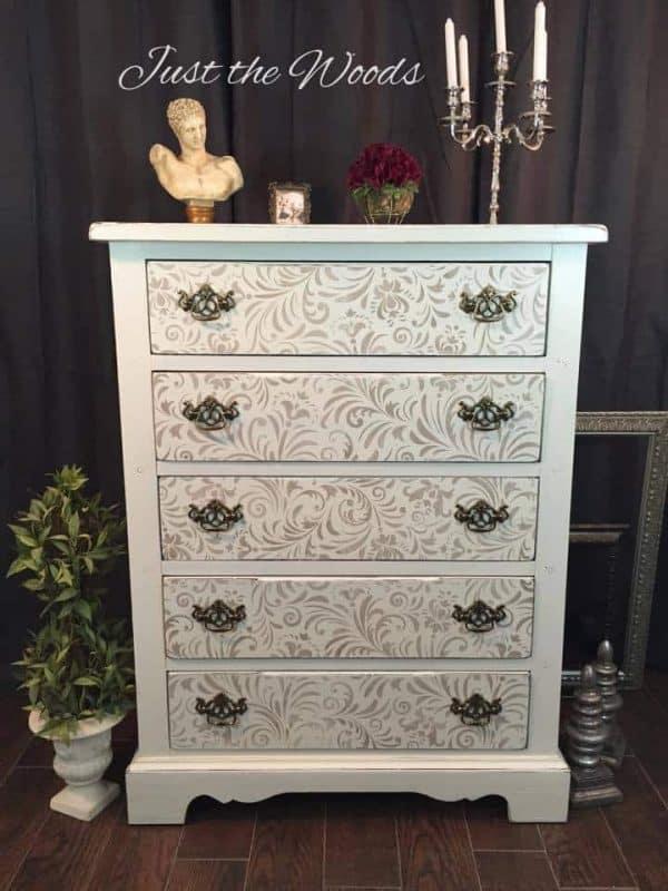 Shabby Chic Stenciled Dresser Renovation